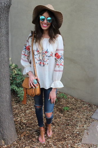 Camille Floral Embroidered Top