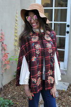 Catherine Plaid Floral Emroidered Cape