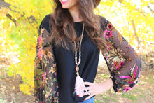 Lara Floral Velvet Burnout Sleeves Top