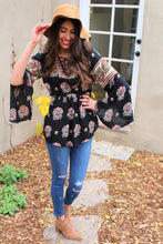 Reina Floral Mixed Print Bell Sleeve Top