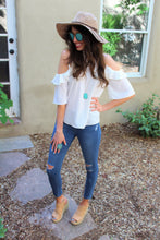 Brynn Cold Shoulder Ruffle Top