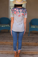 Alice Floral Print Striped Top