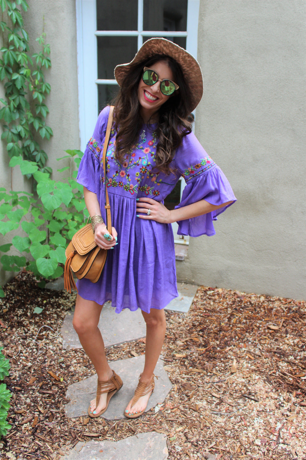 Naya Floral Embroidered Bell Sleeve Dress