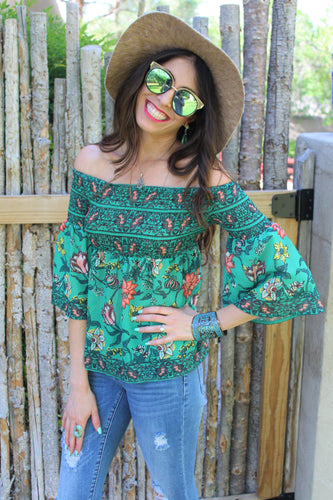 Noa Floral Print Bell Sleeve Top