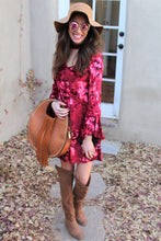 Bianca Floral Print Velvet Mini Dress