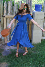 Bleu Off The Shoulder Tie Maxi Dress
