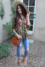 Joanna Camo Floral Embroidered Top