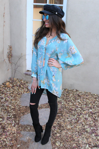 Marisa Floral Print Lace Button Down