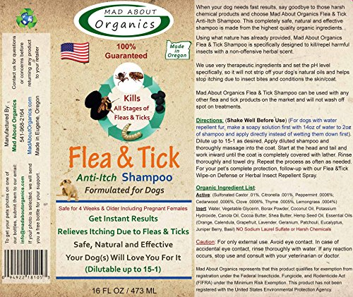 Mad About Organics All Natural Dog Puppy Flea & Tick Anti-Itch Shampoo Concentrate 16oz