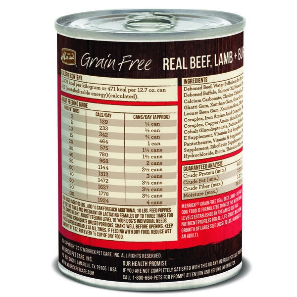 Merrick Grain Free 96% Real Beef Lamb and Buffalo Canned Dog Food