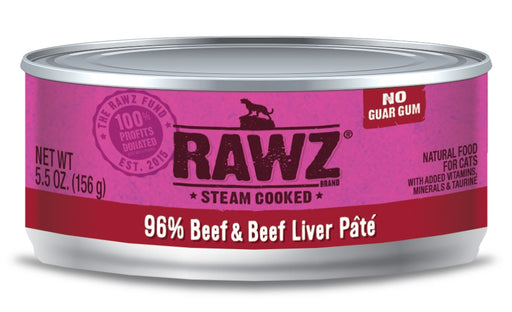 RAWZ Steam Cooked 96% Beef & Beef Liver Patí© Canned Cat Food - 5.5oz Cans, Case of 24