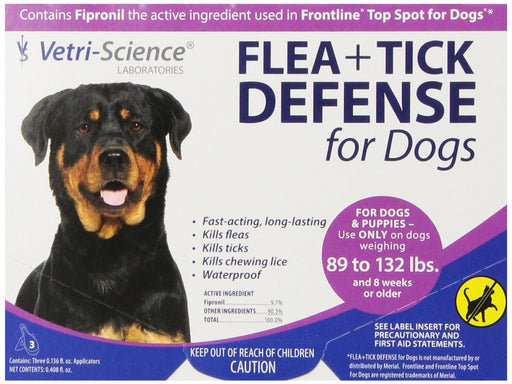 VetriScience Flea & Tick Defense Canine 3-Pack for 89 lb + Dogs