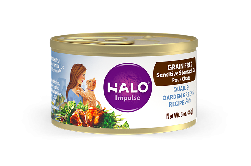 Halo Holistic Sensitive Stomach Grain Free Quail & Garden Greens Pate Canned Cat Food