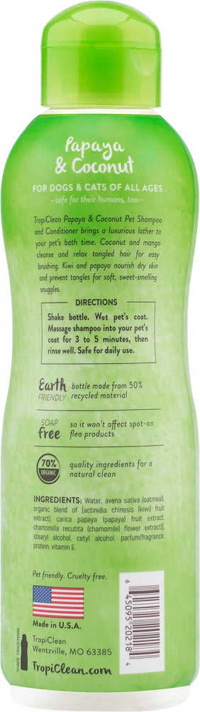 Tropiclean Papaya Plus 2 in 1 Pet Shampoo