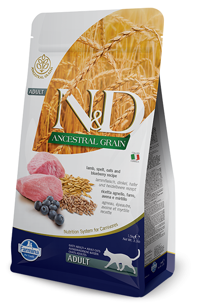 Farmina N&D Natural & Delicious Low Grain Adult Lamb & Blueberry Dry Cat Food