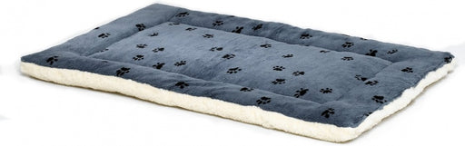 MidWest Quiet Time Fleece Blue Paw Print Reversible Pet Bed & Crate Mat