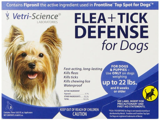 VetriScience Flea & Tick Defense Canine 3-Pack for Dogs 22 lbs or Less