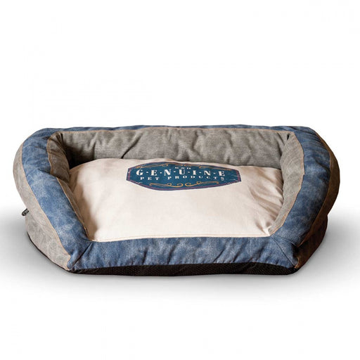 K&H Pet Products Genuine Logo Vintage Gray/Blue Bolster Pet Bed