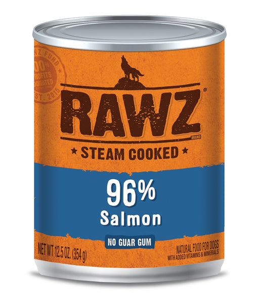 RAWZ Steam Cooked 96% Salmon Canned Dog Food - 12.5oz Cans, Case of 12