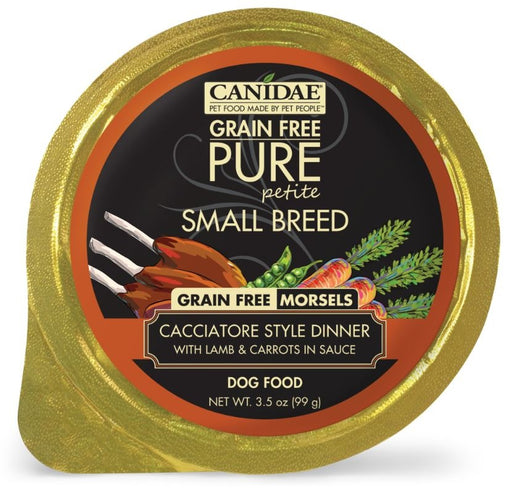 Canidae Grain Free PURE Petite Small Breed Cacciatore Style Dinner Morsels with Lamb and Carrots in Sauce Wet Dog Food