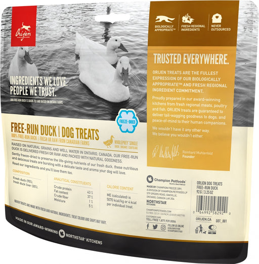 ORIJEN Freeze Dried Free Run Duck Dog Treats