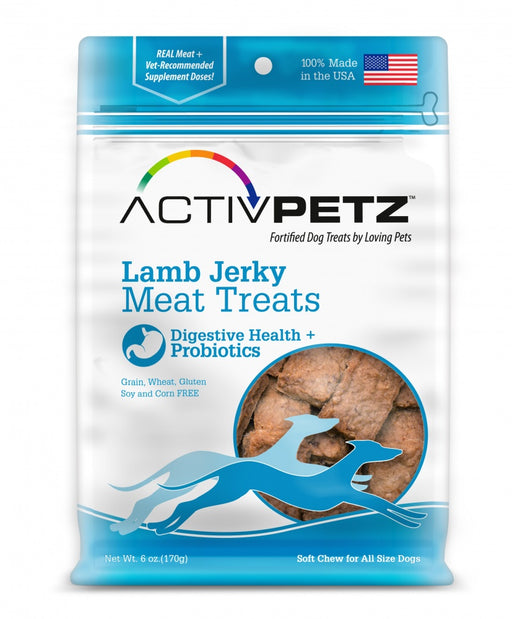 Loving Pets AcitvPetz Grain Free Lamb Jerky Digestive Health and Probiotics Dog Treats