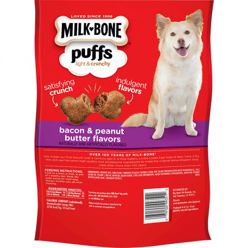 Milk-Bone Puffs Crunchy Bacon and Peanut Butter Dog Treats