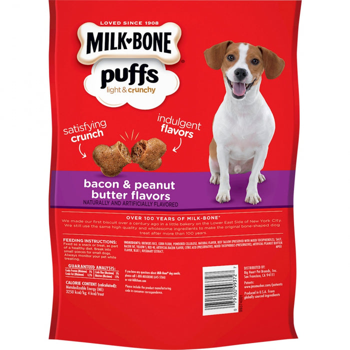 Milk-Bone Puffs Crunchy Bacon and Peanut Butter Mini Dog Treats