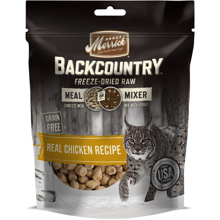 Merrick Backcountry Freeze Dried Grain Free Chicken Recipe Meal Mixer for Cats