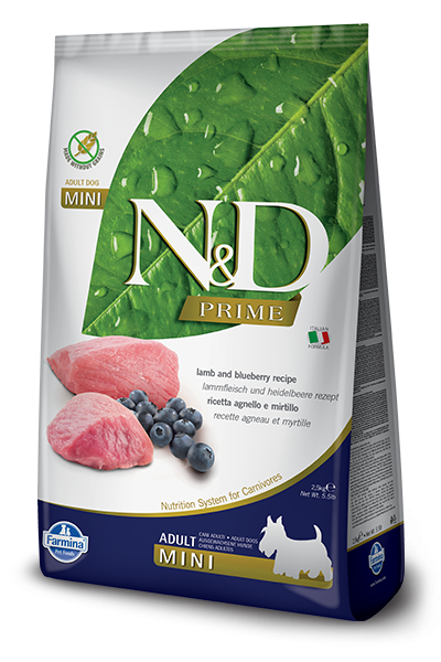Farmina Prime N&D Natural & Delicious Grain Free Mini Adult Lamb & Blueberry Dry Dog Food