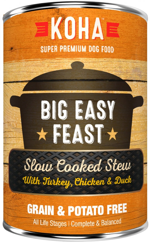 KOHA Grain & Potato Free Big Easy Feast Slow Cooked Stew with Turkey, Chicken & Duck Canned Dog Food