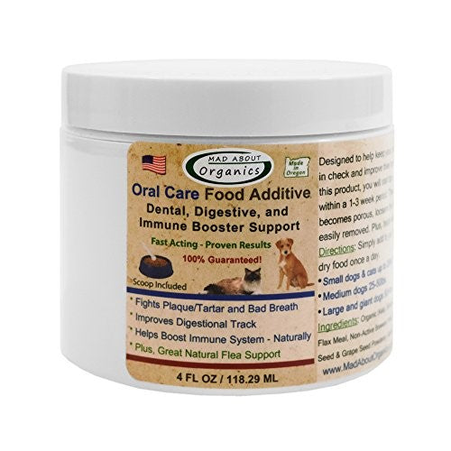 Mad About Organics All Natural Dog & Cat Plaque Remover Dental Food Additive 4oz