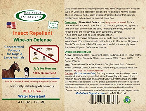 Mad About Organics All Natural Horse / Farm Animal Insect Repellent Wipe-on Defense 4oz