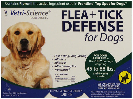 VetriScience Flea & Tick Defense Canine 3-Pack for 45 - 88 lb Dogs