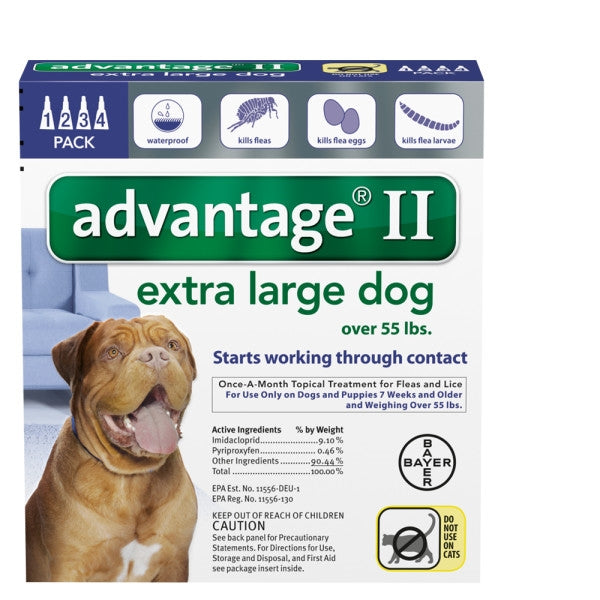 Advantage II Canine 4-Pack for Dogs 55 lbs and over