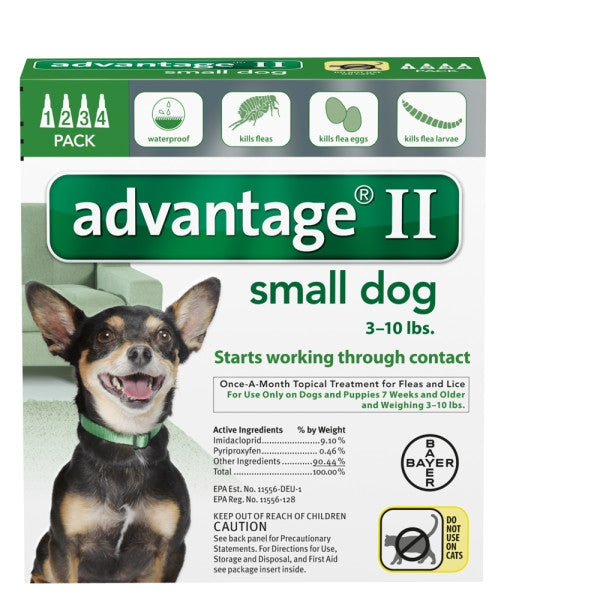 Advantage II Canine 4-Pack for Dogs up to 10 lbs