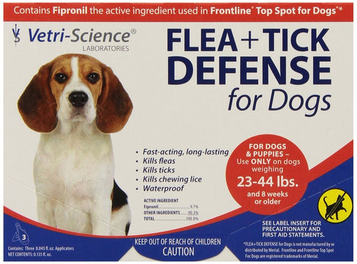 VetriScience Flea & Tick Defense Canine 3-Pack for 23 - 44 lb Dogs