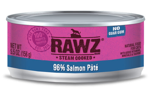 RAWZ Steam Cooked 96% Salmon Pat���� Canned Cat Food - 5.5oz Cans, Case of 24
