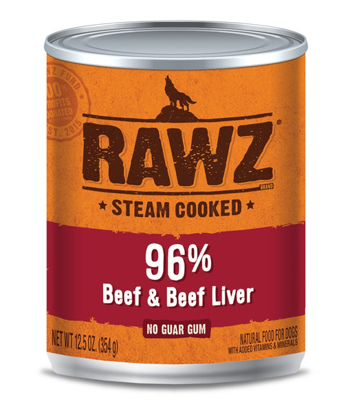 RAWZ Steam Cooked 96% Beef & Beef Liver Canned Dog Food - 12.5oz Cans, Case of 12