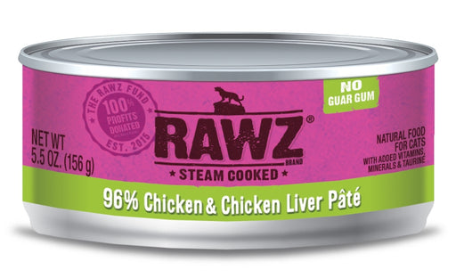 RAWZ Steam Cooked 96% Chicken & Chicken Liver Pat���� Canned Cat Food - 5.5oz Cans, Case of 24