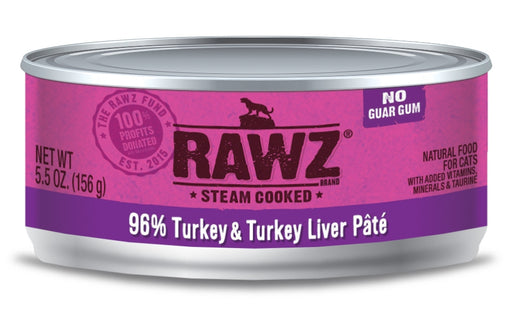 RAWZ Steam Cooked 96% Turkey & Turkey Liver Patí© Canned Cat Food - 5.5oz Cans, Case of 24