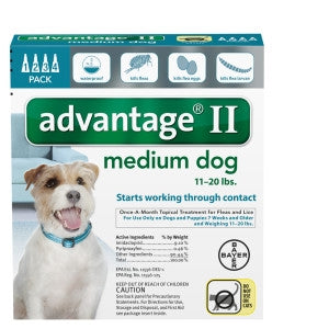 Advantage II Canine 4-Pack for Dogs between 11 and 20 lbs
