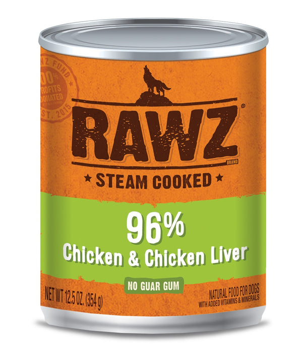 RAWZ Steam Cooked 96% Chicken & Chicken Liver Canned Dog Food - 12.5oz Cans, Case of 12