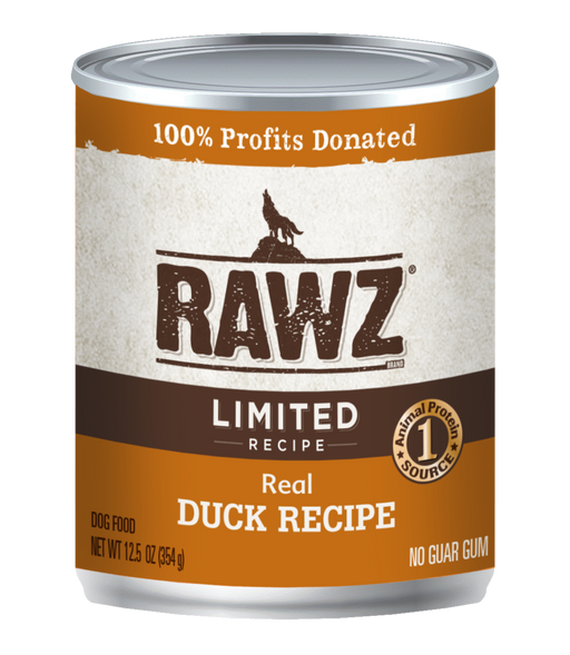 RAWZ Limited Recipe Real Duck Canned Dog Food - 12.5oz Cans, Case of 12