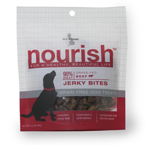 Isle of Dogs Nourish 90% Meat Grass Fed Beef Jerky Bites Dogs Treats