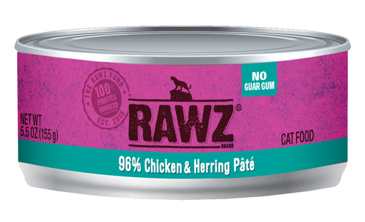 RAWZ 96% Chicken & Herring Pâté Canned Cat Food - 5.5oz Cans, Case of 24