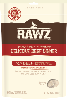 RAWZ Freeze Dried 95% Delicious Beef Dinner Dog Food