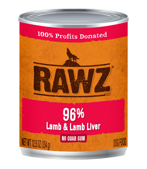 RAWZ 96% Lamb & Lamb Liver Canned Food for Dogs - 12.5oz Cans, Case of 12