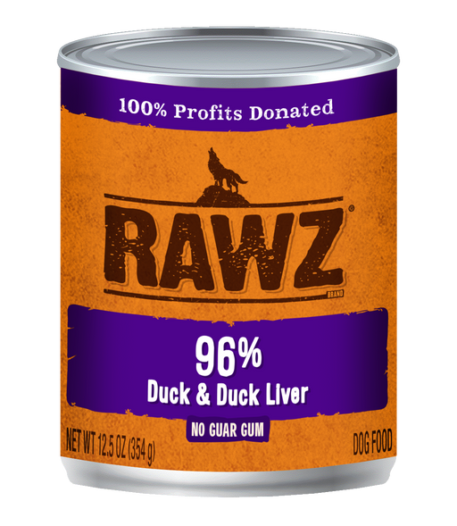 RAWZ 96% Duck & Duck Liver Canned Dog Food 12.5oz Cans, Case of 12