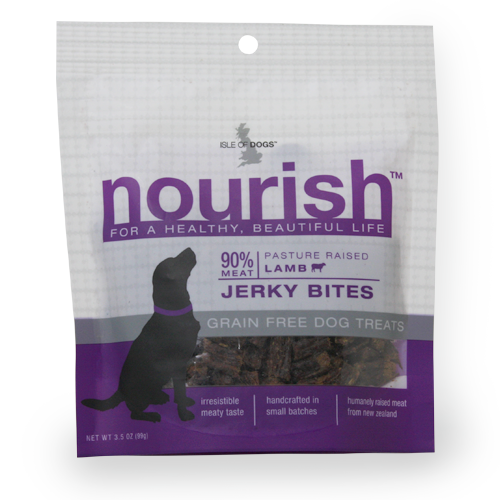 Isle of Dogs Nourish 90% Meat Pasture Raised Lamb Jerky Bites Dog Treats